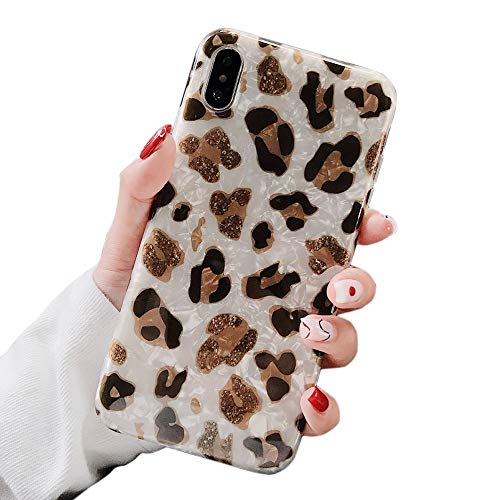 Dailylux iPhone XR Case,Cute Phone Case for Girls Women Glitter Pretty Design Protective Slim Shockproof Pearly-Lustre Shell Bumper Soft Silicone TPU Cover for iPhone XR 6.1 inch 2018,Brown Leopard