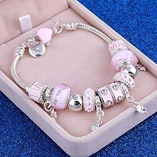 POKL Pink Crystal Charm Silver Bracelets & Bangles for Women With Aliexpress Murano Beads Silver Bracelet