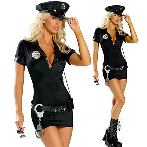 Suppyfly 4-teiliges Polizei-Kostüm, Kleid, Hut, Gürtel, Handschellen, Halloween, sexy Outfit, Kostüme Gr. Medium, 1