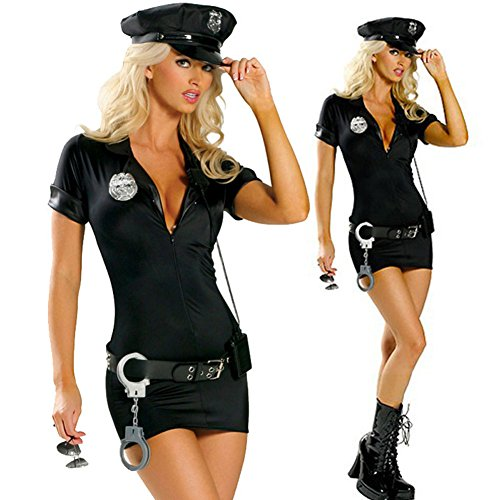 Suppyfly 4 Pcs New Women Police Fancy Cosplay Costume Dress+Hat+Belt+Handcuff Halloween Sexy Outfit Costumes