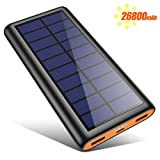 kilponen Solar Power Bank, 26800mAh Portable Charger High Capacity Fast Charge External Battery