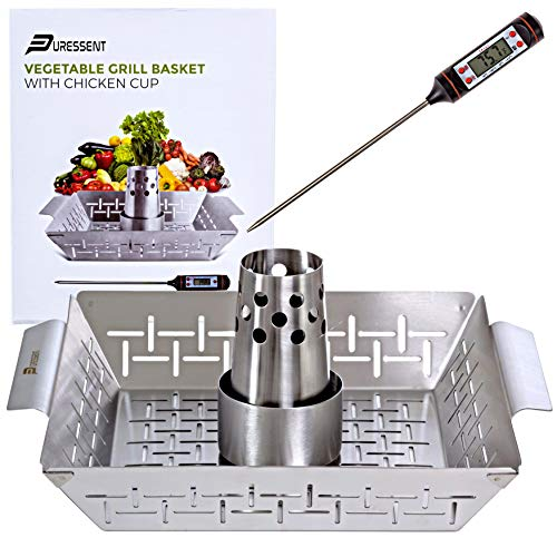 Large Stainless Steel BBQ Grill Basket Set with Free Meat Thermometer– Beer Can Chicken Holder/Roaster/Cooker Stand-Vertical Grilling Accessories-Rack for Kabob, Fish, Vegetables-Turkey Cannon for Cha