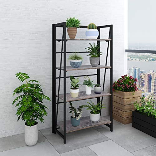 Storage Shelves Folding Bookshelf 4 Tiers Bookcase Home Office Cabinet Industrial Standing Racks Study Organizer