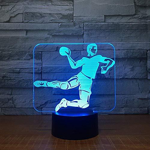 Lámpara LED 3D de balón de mano, 7 colores, base táctil, luz nocturna, lámpara de mesa, lámpara para bebé, luz nocturna, deportiva, fans de los niños regalo