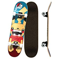 "Skateboard Deck: 31"" x 7.75"", 7-Ply Maple, Mellow Concave, Trickboard - Concave, Kicktail, Nose Skateboard Trucks: 7.675 HD5 Heavy Duty 2 Tone Trucks, 125mm Hanger, Aluminum Alloy Skateboard Bearings: ABEC-7 Chrome Bearings Skateboard Wheels : 54mm, ..."