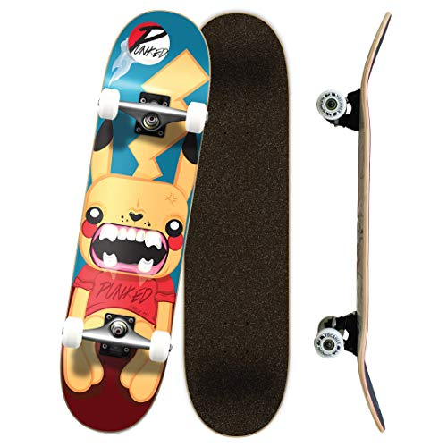 """Yocaher Punked Complete Skateboards 7.75"""" or Mini Cruiser or Micro Cruiser Shapes - Pika and Chimp Series (Complete -01- 7.75"""" Pika)"""