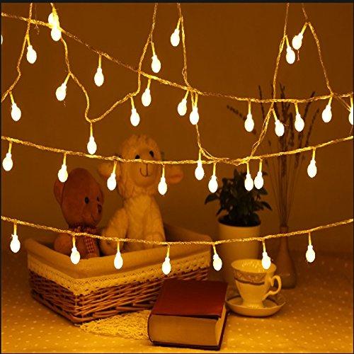 Uping Strisce di Luci LED, Globo, Luce Calda Bianca,Impermeabile, 12 Metri, 100 Singoli LED, Decorativa da Interni e Esterni