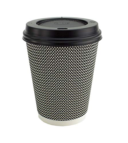 Ripple Hot Cups met Deksels voor Koffie en Afhaaldrankjes - Triple Wall Insulated Disposable Cups en Black Leak Proof Deksels - Mono Series Zwart en Wit Kleur 12 oz Wit en zwart