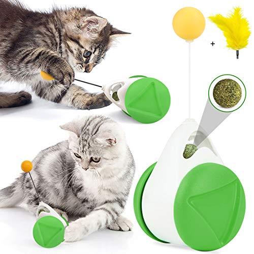 Juguetes Interactivos para Gatos, Juguete para Gatos de Tumbler,Juguetes para Gatos con Hierba Gatera y Plumas, Juguete de Bola de Gato, Juego de Interior para Gatos,Ejercicio Animal Doméstico