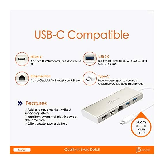 J5create usb-c mini dock- type c hub with 2x 4k hdmi, 2x usb 3. 0, ethernet, power delivery 2. 0 4 add multiple screens, one up to 4k high resolution. Usb-c port compatible display without alt-dp mode. Note: currently not compatible with macbooks using the m1 processor. Add 2 additional usb ports through your usb-c port. Supports upstream charging & power delivery 2. 0 via usb type-c charging port. Supports two displays with max resolution of 4k @30 hz / 1080p @60 hz. Easily add an additional display through a usb 3. 0 and hdmi connection.