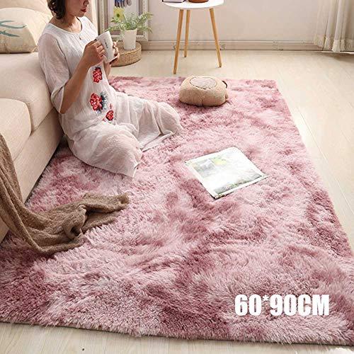 Nicknocks Tapete de piso moderno, tapete de juegos para niños, tapete nórdico, felpa larga, suave, tapete para recámara, sala de estar, Púrpura rosa, 60cmx90cm