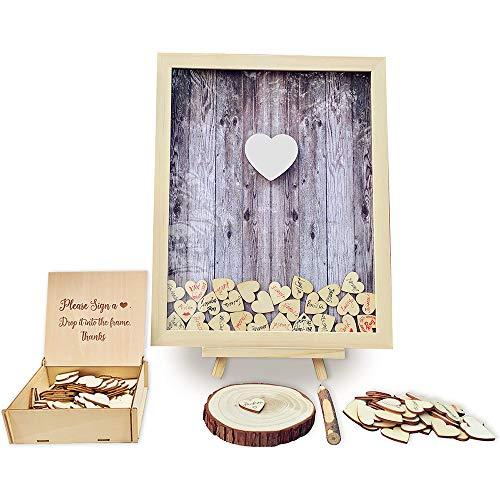 Libro de visitas de boda con forma de bolígrafo alternativo con marco de madera para baby shower, decoración de fiesta de cumpleaños, 120 corazones