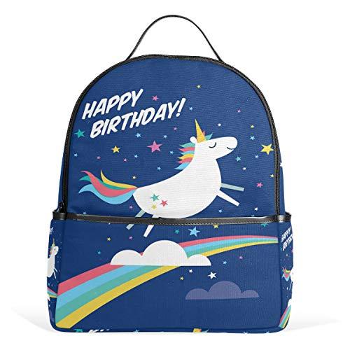 Unicorn Birthday Casual Student Backpack, Horse Rainbow Durable Unisex School Bag Bookbag Daypack Back Bag Shoulder Bag for School Travel