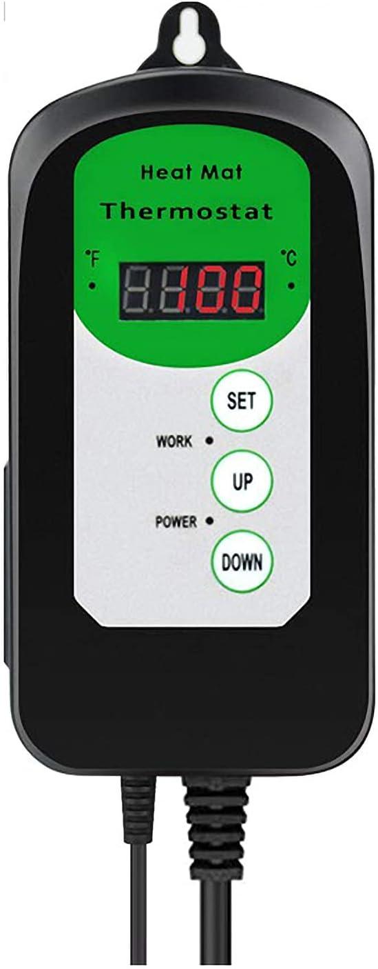 Termostato de esterilla térmica de 1000w, controlador de temperatura para plantas hidropónicas, germinación de semillas, reptiles, suministros para mascotas, 20-42 ℃ / 68-108 ℉, termostato para