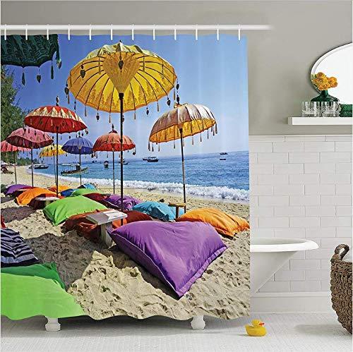 Yiciyici Playa prístina balinesa bañada por la Playa de Arena de Bali Sombrillas diurnas Almohadas Ocio Poliéster Baño Cortina de ducha-200(H) x230(W)