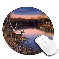 鹿 マウスパッド 丸型 20cm 滑り止め 防水 おしゃれ 洗える ビジネス用 家庭用 ゲーム用
