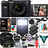 Sony a7C Mirrorless Full Frame Camera Alpha 7C Body with 28-60mm F4-5.6 Lens Kit Black ILCE7CL/B Bundle with Deco Gear Case + Extra Battery + Flash + Filters + Macro & Telephoto Lenses + Accessories