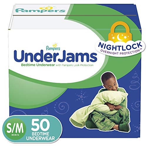 Pampers UnderJams Disposable Bedtime Underwear for Boys, Size S/M, 50 Count, Super Pack