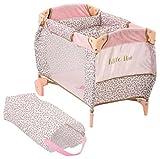 Hauck D90186 Baby Center Little Diva Puppenreisebett mit Wickelablage, Laufstall für Puppen im Leoparden-Look, zusammenklappbar, inklusive Tasche, Rosa/Gold