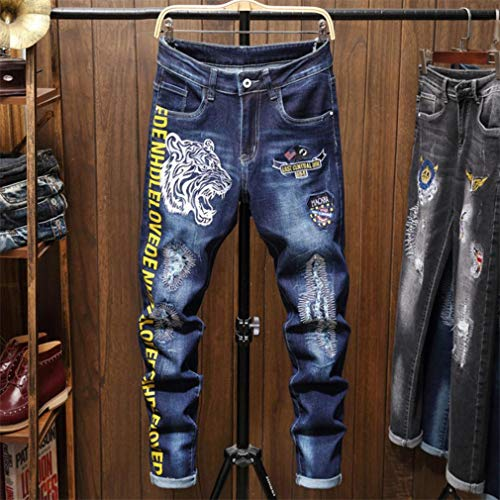 Woovitpl Pantalones Vaqueros Masculinos Men Denim Denim Delgado Pantalones Pantalones Pantalones Blue Biker Impresión Jeans para Hombres Skinny Casual Moda Sweetpants 2031 34