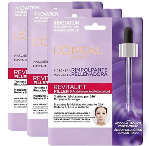 L'Oréal Paris Maschera in Tessuto Revitalift Filler, Maschera in Tessuto Rimpolpante Anti-Età con Tecnologia Effetto Seconda Pelle, Arricchita con Acido Ialuronico, 30 G, Confezione da 3