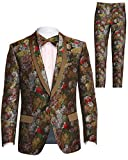 Men's Slim Fit Floral Skinny Tuxedo Suit, Blazer Jacket with Matching Bowtie for Wedding, Prom, Green Size 42R 42 Regular L Large Pant Size 36