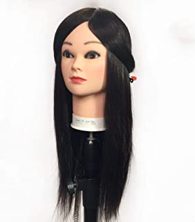 Hairdressing Training Head 100% Human Hair Mannequin Head Manikin Hairdressing Styling Practice Head Hair Styling Model