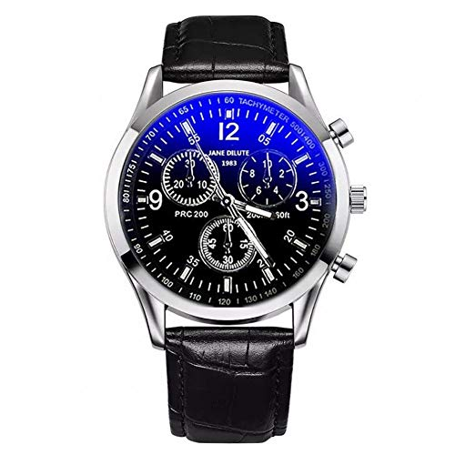 Yahunosu 1 reloj de cuarzo para hombre, correa de piel sintética, reloj de lujo de cristal de rayos azules de alta calidad, el mejor regalo para padre novio niños (correa negra con esfera negra)