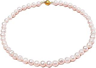 JYX - Collar ovalado de perlas cultivadas en agua dulce de 7 a 8 mm, color blanco y rosa, 43 cm