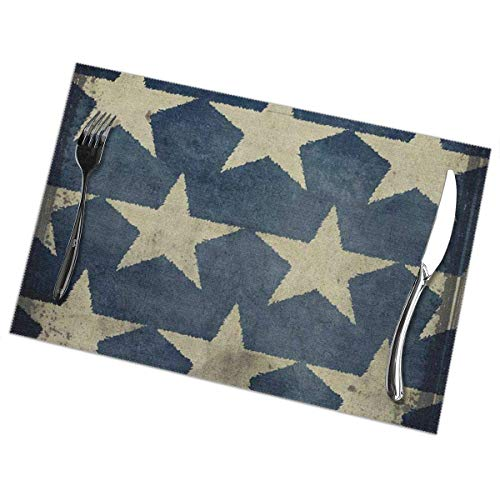 Juego de 6 manteles individuales para mesa de comedor, estrella, antigua bandera americana, estrellas, patriótico, día conmemorativo, cuatro de julio, azul, beige