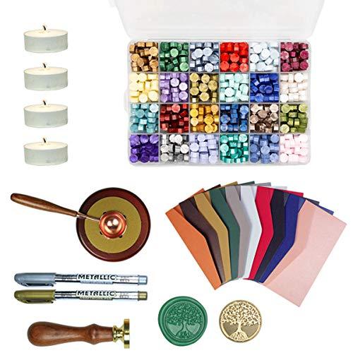 Wachsschmelz Siegelwachsperlen Set Vintage Bunt 24 Farben mit Metallstift Umschläge Siegelstempel Wachsschmelzlöffel Für Briefe Hochzeit Karten Geschenkbox Wachssiegelstempel
