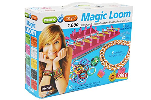 1000 Stück Magic Loom Gummibänder Starter Set Knüpfboard Armband Armbänder Ringe Freundschaftsarmband Geschenkbox
