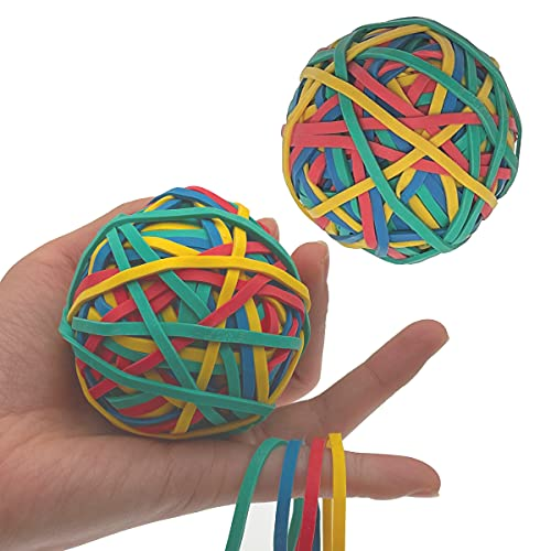 LUEEPDD 2 Roll Rubber Band Elastic Ball, 280-300 Color Elastic Rubber Bands Thick Rubber Bands Elastic Band Loop Stretchable Rubber Bands for School Home and Office Use Stationery Supplies