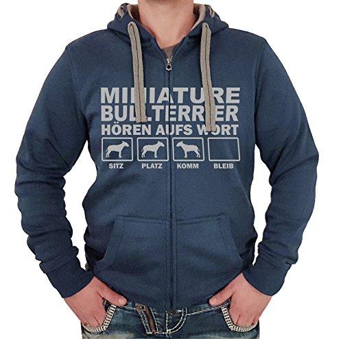 Siviwonder Miniature Bullterrier Bull Terrier Mini - Jacke HÖREN AUFS Wort Motiv Unisex Hund Kapuzen Zip Pullover Sweatjacke Hunde denimblau XL
