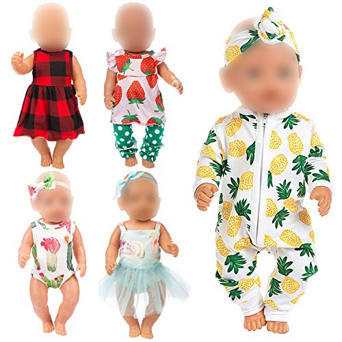 Ecore Fun 10 Item 14-16 Inch Baby Doll Clothes Dresses Outfits Pjs for 43cm New Born Baby Dolls, 15 Inch Baby Doll, American 18 Inch Girl Doll