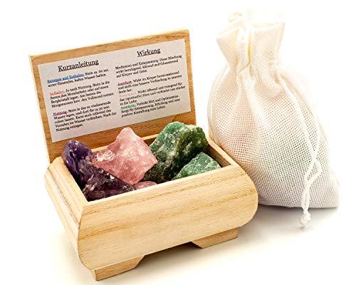 Meditation und Entspannung | 100% Natursteine | Premium Wassersteine | Deine Heilstein Edelsteinwasser Mischung | Quellwasser gereinigt