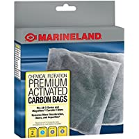 2 Count MarineLand Premium Activated Carbon Bags for Chemical Filtration in Aquariums