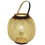 Jieoy Pequeña lámpara de Mesa de bambú Tejido de lámparas de Madera En Las recámaras de Estar Vendimia Habitaciones en la cabecera de iluminación (Size : 29 * 30cm)