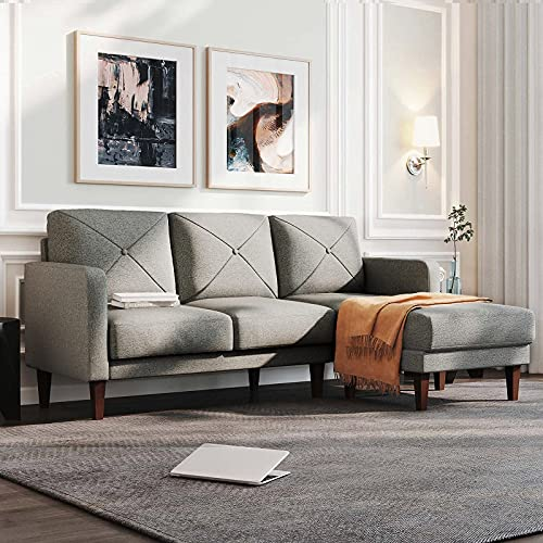 Belffin Corner Sofa 3 Seater Sectional Sofa with Chaise Lounge L Shaped Sofa Couch Grey