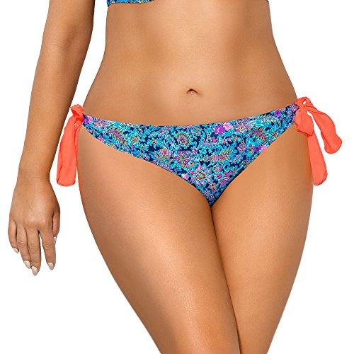 AVA SF-65/3 Dame Bikini Slips Bademode Normaler Bund, blau-orange,M