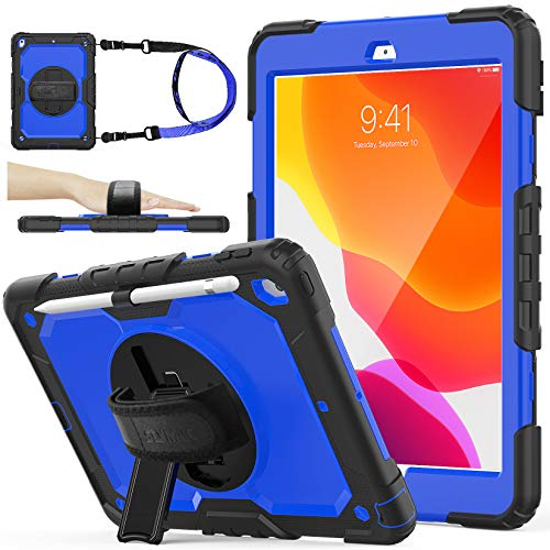 SEYMAC stock iPad 8th/7th Generation Case 10.2, [Full-Body] & [Drop-Proof] Case with 360 Degrees Rotating Stand [Pencil Holder] [Screen Protector] Hand Strap for 2020/2019 iPad 8/7 Gen (Blue+Black)
