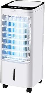 LIANTING Climatizador Evaporativo Aire Acondicionado Portátil 3 Velocidades Temporizador de 7 Horas con Mando a Distancia 60W Blanco 25x28x58cm