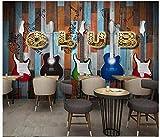 Apoart 3D Papier Peint Panneau De Bois De Guitare Électrique Originale Européenne Et Américaine Rétro Mur Ktv Murale Mur 200Cmx140Cm