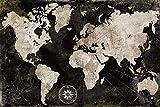 Mapa del mundo Vintage Lienzo Mapa del mundo Impresión impermeable Mapa Mapa del mundo Exquisito Mapa del mundo Espectacular Decoración de la casa-60x90cm_HZ13132