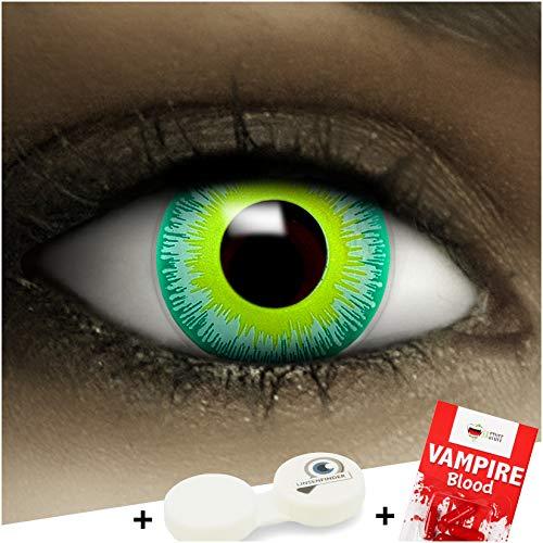 FXCONTACTS Farbige Kontaktlinsen Alien, in grün inklusive Kunstblut Kapseln und Kontaktlinsenbehälter, 1 Paar Linsen (2 Stück) weich, ohne Stärke