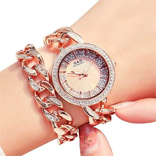XQKXHZ Relojes de Pulsera Doble de Cuarzo Japonés Analógico para Mujer con Diamantes de Imitación, Cronometraje Preciso, para Festival Reunión Familiar, Rose Gold 1