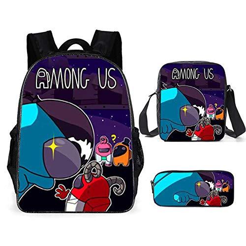 NINEXY Entre nosotros mochila escolar juego de tres piezas patrón de dibujos animados mochilas y mochilas para niños mochilas escolares y mochilas para estudiantes de primaria y secundaria