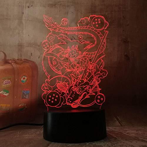 GYWLE Lámpara 3D Dragon Ball Z Vegeta Figura de acción Luz de niño Regalo de cumpleaños para niños Dormitorio Deco Vegeta Batería Lámpara de mesa Dormitorio-8_2_16_color_with_remote
