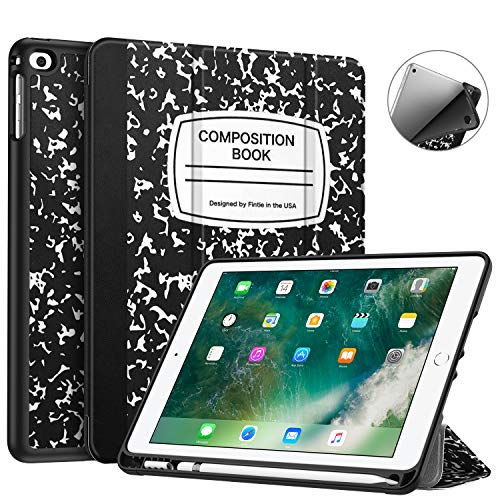 Fintie Case with Built-in Apple Pencil Holder for iPad 9.7 2018 2017 / iPad Air 2 / iPad Air - [SlimShell] Lightweight Soft TPU Back Protective Cover w/Auto Wake Sleep, Composition Book Black