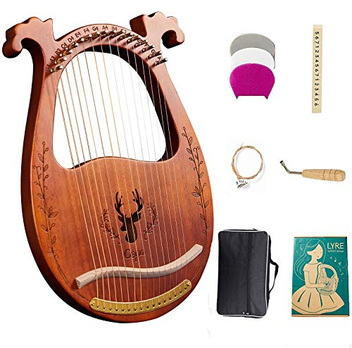 Lyre Harp, 16-String Harp Solid Wood Mahogany Lyre Harp with Tuning Wrench, Pick,Strings, Black Gig Bag and Instruction Manual for Beginners Instruments Lovers (coffee color)